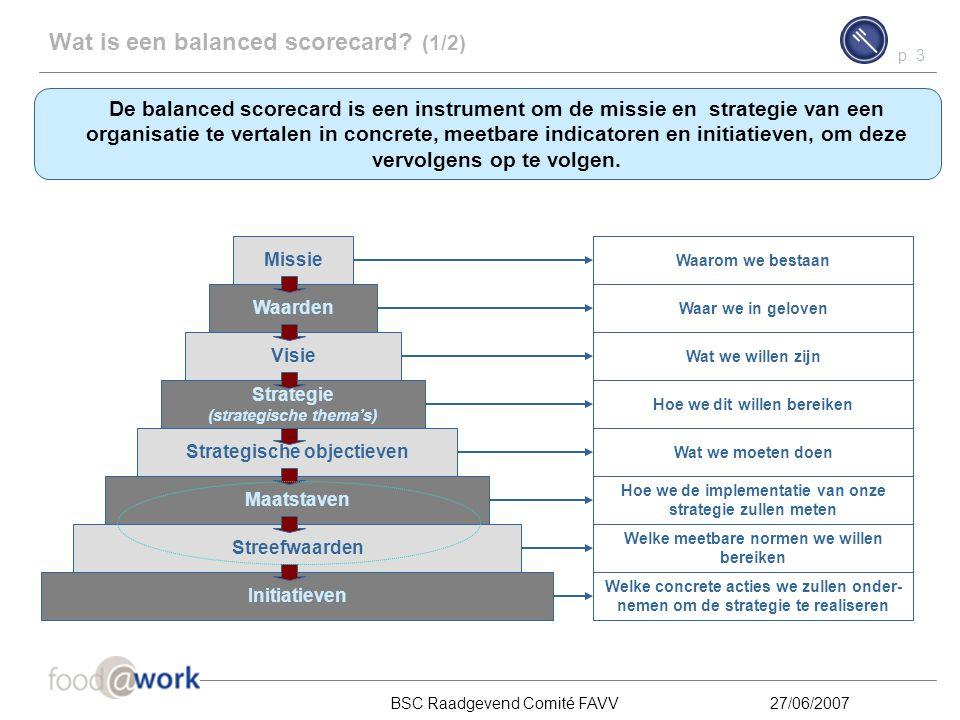 p. 2 BSC Raadgevend Comité FAVV27/06/2007 Inhoud Wat is een balanced scorecard? 1 Hoe wordt een balanced scorecard ontwikkeld en gebruikt? 2 Stand van