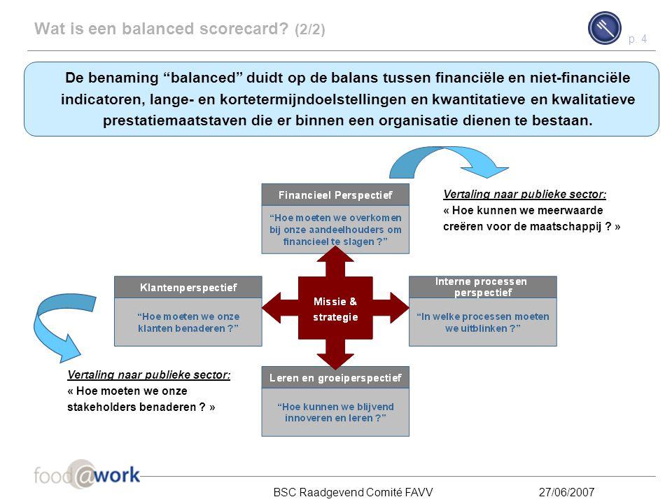 p. 3 BSC Raadgevend Comité FAVV27/06/2007 Wat is een balanced scorecard? (1/2) De balanced scorecard is een instrument om de missie en strategie van e