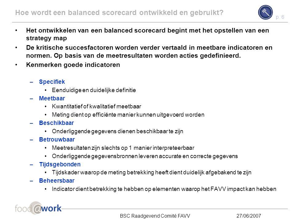 p. 5 BSC Raadgevend Comité FAVV27/06/2007 Inhoud Wat is een balanced scorecard? 1 Hoe wordt een balanced scorecard ontwikkeld en gebruikt? 2 Stand van