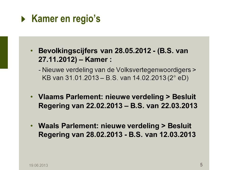 Kamer en regio's Bevolkingscijfers van 28.05.2012 - (B.S.
