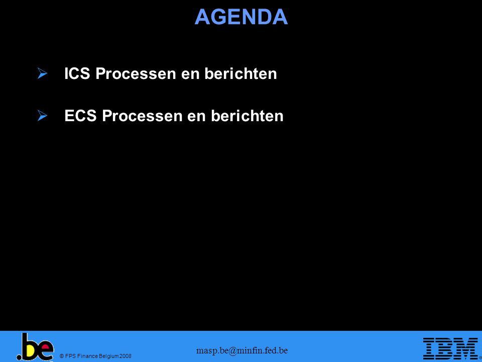© FPS Finance Belgium 2008 masp.be@minfin.fed.be AGENDA  ICS Processen en berichten  ECS Processen en berichten
