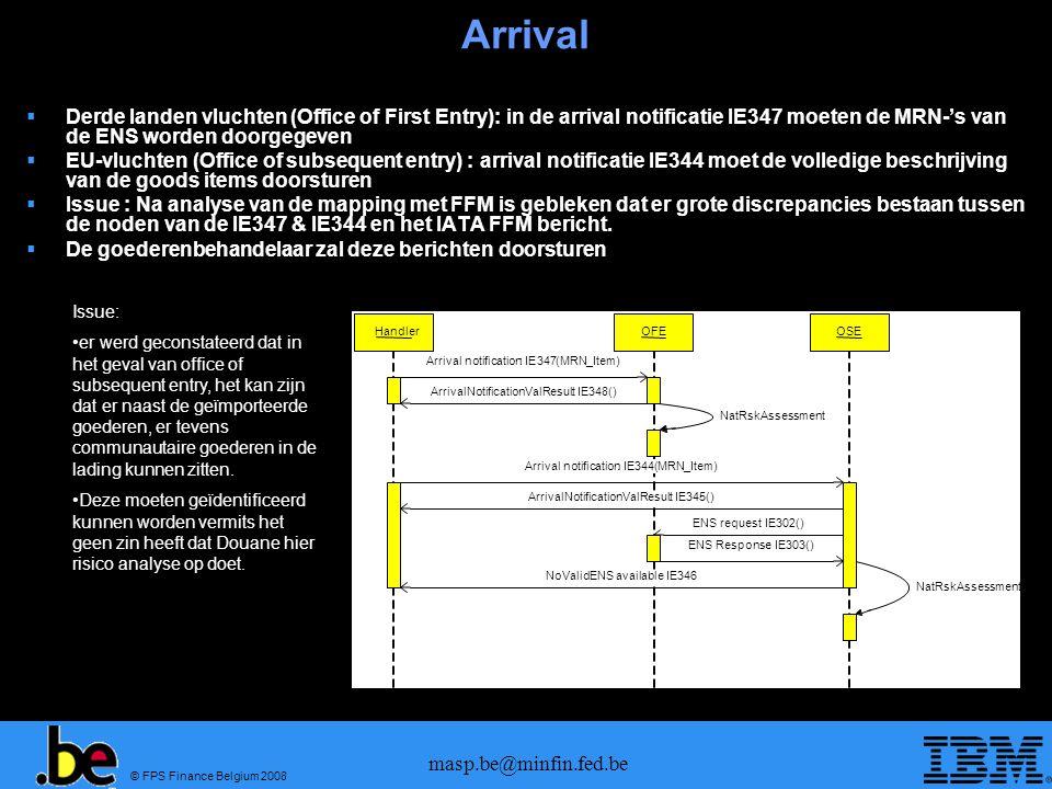 © FPS Finance Belgium 2008 masp.be@minfin.fed.be ECS Exit Process Summary Declaration  Predeparture gegevens (IE615) worden gestuurd naar de Office of Exit  In het merendeel van de gevallen zullen de pre-departure gegevens verstrekt worden met een SAD+ die vanaf 1/7/2009 zal in voege treden.
