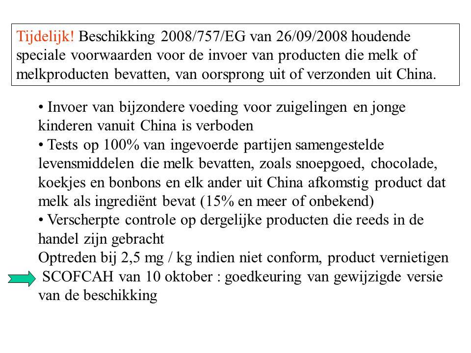 Invoer van bijzondere voeding voor zuigelingen en jonge kinderen vanuit China is verboden Tests op 100% van ingevoerde partijen samengestelde levensmi