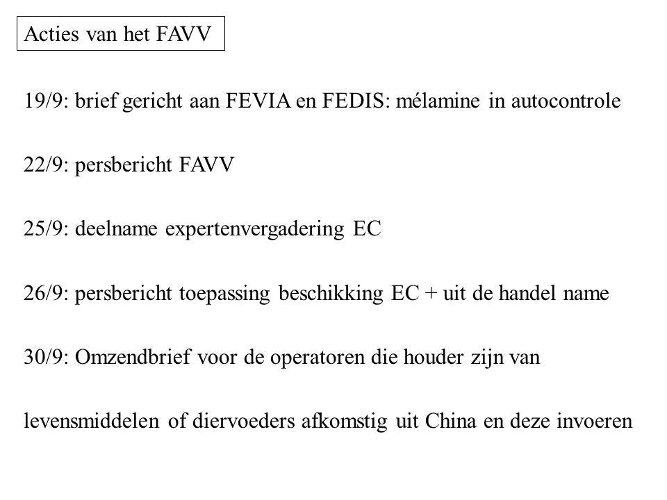 19/9: brief gericht aan FEVIA en FEDIS: mélamine in autocontrole 22/9: persbericht FAVV 25/9: deelname expertenvergadering EC 26/9: persbericht toepas