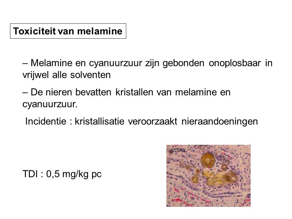 – Melamine en cyanuurzuur zijn gebonden onoplosbaar in vrijwel alle solventen – De nieren bevatten kristallen van melamine en cyanuurzuur. Incidentie