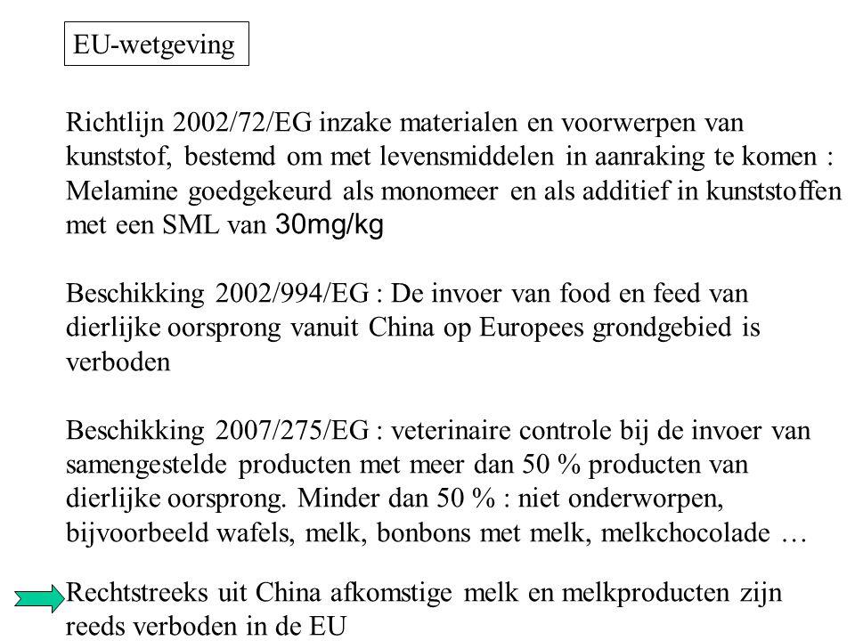 Richtlijn 2002/72/EG inzake materialen en voorwerpen van kunststof, bestemd om met levensmiddelen in aanraking te komen : Melamine goedgekeurd als mon