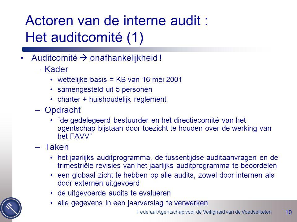 Federaal Agentschap voor de Veiligheid van de Voedselketen 10 Actoren van de interne audit : Het auditcomité (1) Auditcomité  onafhankelijkheid .