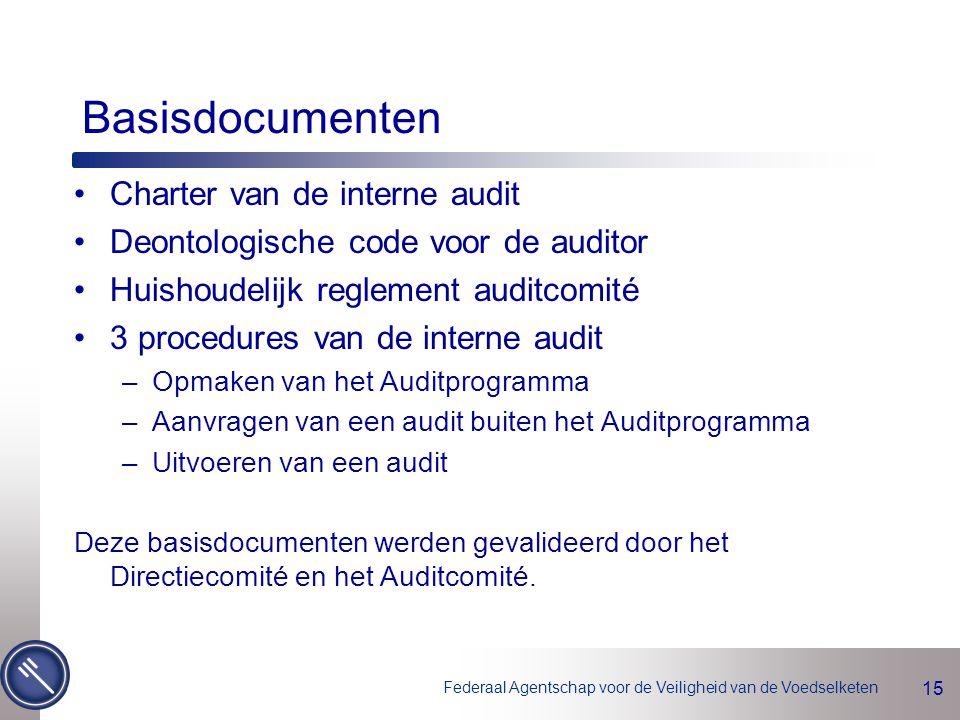 Federaal Agentschap voor de Veiligheid van de Voedselketen 15 Basisdocumenten Charter van de interne audit Deontologische code voor de auditor Huishoudelijk reglement auditcomité 3 procedures van de interne audit –Opmaken van het Auditprogramma –Aanvragen van een audit buiten het Auditprogramma –Uitvoeren van een audit Deze basisdocumenten werden gevalideerd door het Directiecomité en het Auditcomité.