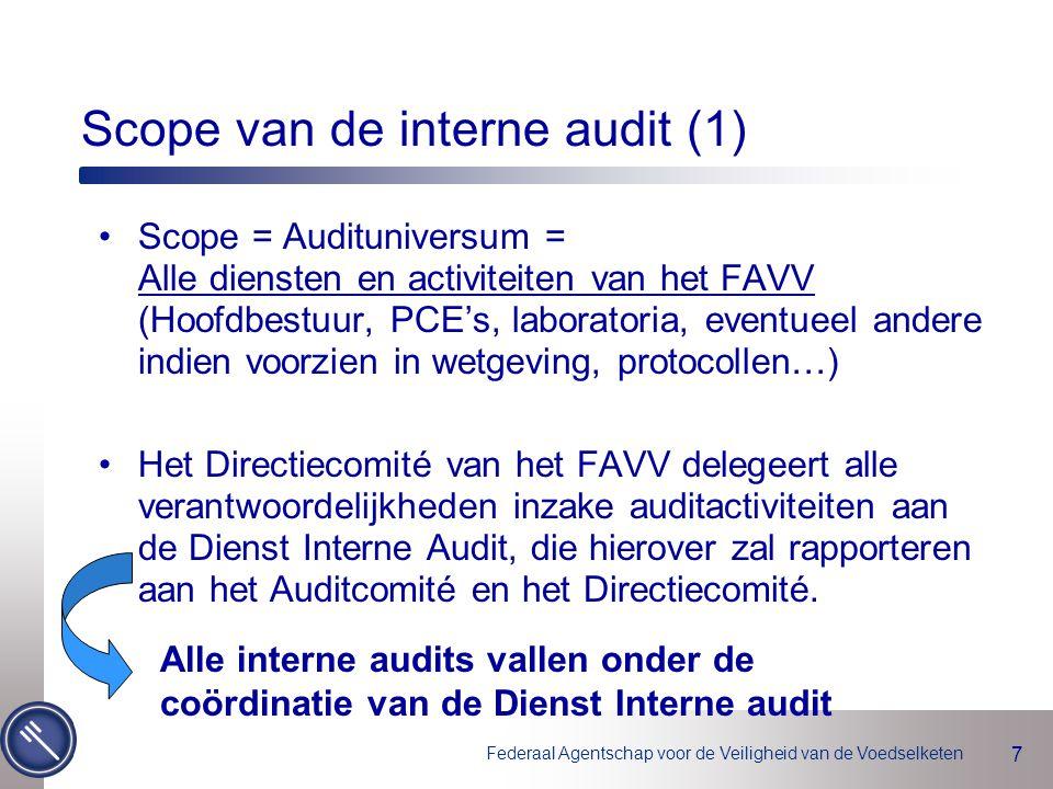 Federaal Agentschap voor de Veiligheid van de Voedselketen 8 Scope van de interne audit (2) Binnen de scope bestaan er 3 activiteiten-pijlers 3 auditcategorieën –Geprogrammeerde 'nieuwe' audits –Geprogrammeerde 'opvolgingsaudits' (naar aanleiding van vaststellingen vorige audits) –Niet geprogrammeerde audits op aanvraag Onderdeel van het Auditprogramma Specifieke procedure Pijler 1 Pijler 2 Pijler 3 Kwaliteitshandboek ISO De kernactiviteiten van het FAVV, verordening 882/2004 Overige activiteiten B&B, ICT, Logistiek, Juridische dienst, …