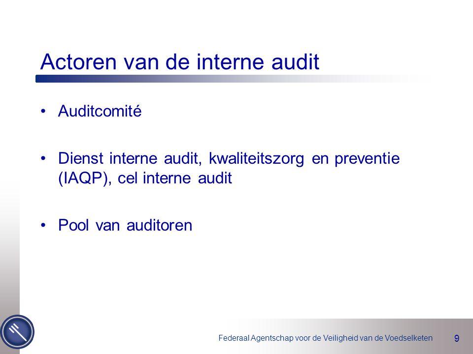 Federaal Agentschap voor de Veiligheid van de Voedselketen 9 Actoren van de interne audit Auditcomité Dienst interne audit, kwaliteitszorg en preventie (IAQP), cel interne audit Pool van auditoren