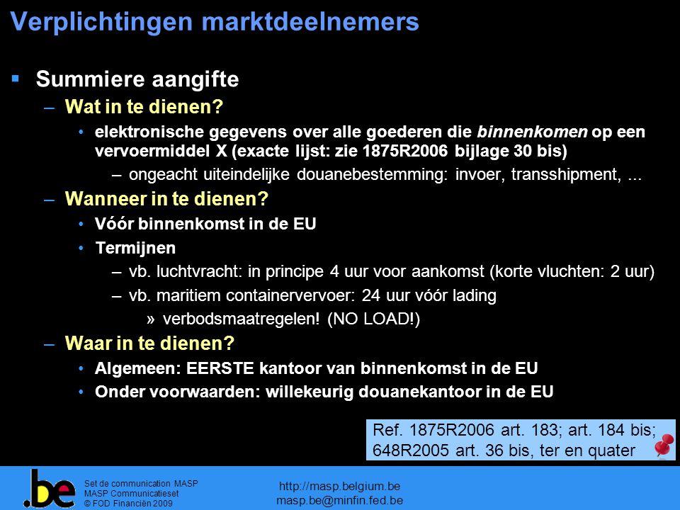 Set de communication MASP MASP Communicatieset © FOD Financiën 2009 http://masp.belgium.be masp.be@minfin.fed.be Verplichtingen marktdeelnemers  Summiere aangifte –Wat in te dienen.