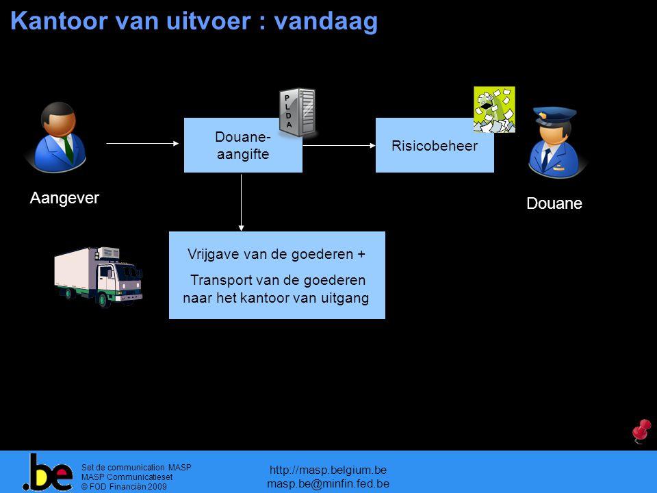 Set de communication MASP MASP Communicatieset © FOD Financiën 2009 http://masp.belgium.be masp.be@minfin.fed.be Douane- aangifte Risicobeheer Kantoor