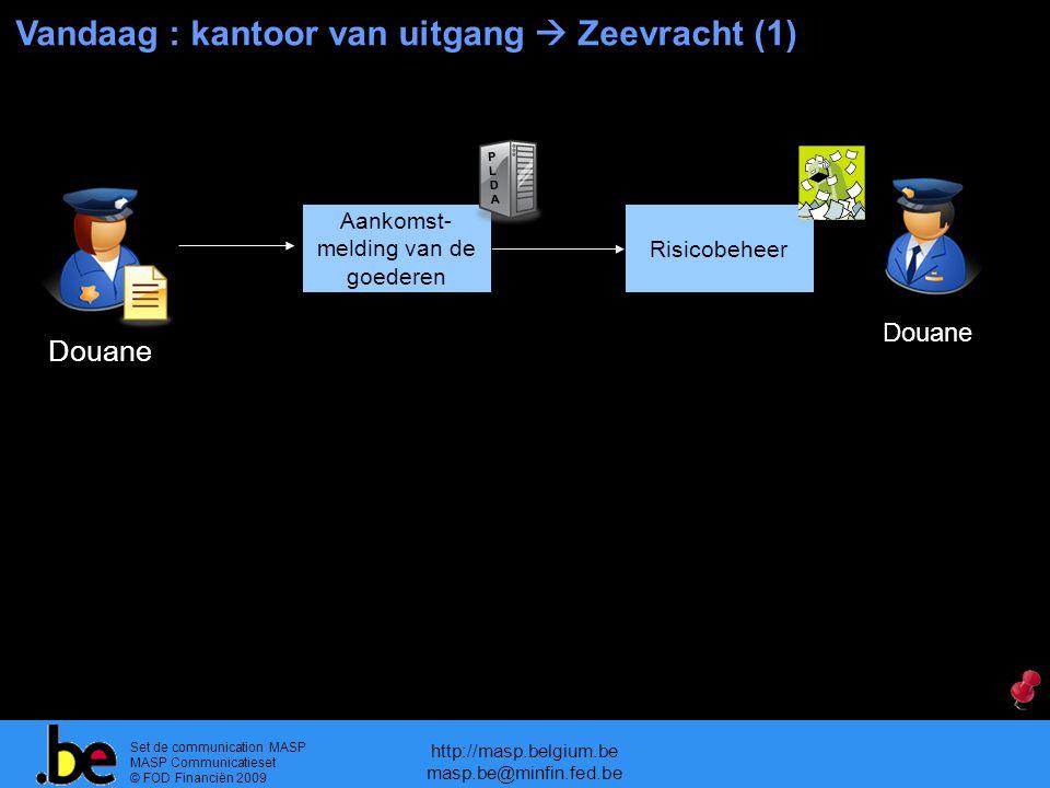 Set de communication MASP MASP Communicatieset © FOD Financiën 2009 http://masp.belgium.be masp.be@minfin.fed.be Vandaag : kantoor van uitgang  Zeevracht (1) Douane Risicobeheer Douane Aankomst- melding van de goederen PLDAPLDA
