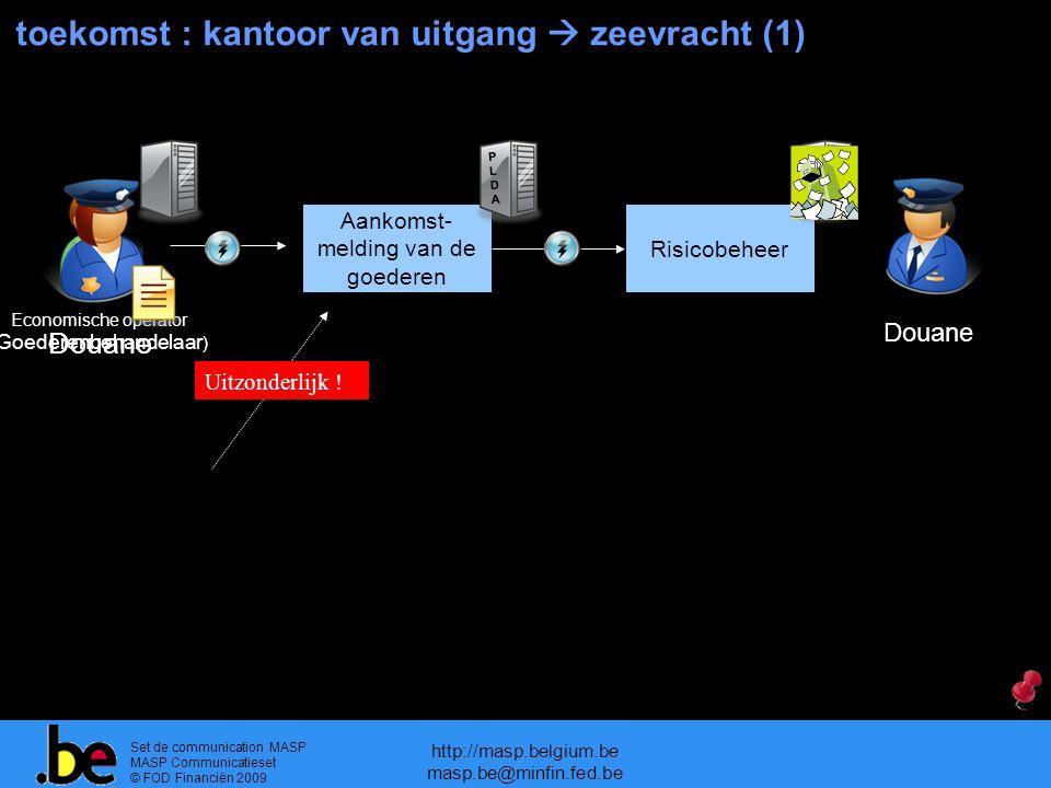 Set de communication MASP MASP Communicatieset © FOD Financiën 2009 http://masp.belgium.be masp.be@minfin.fed.be toekomst : kantoor van uitgang  zeevracht (1) Aankomst- melding van de goederen Risicobeheer Douane PLDAPLDA Uitzonderlijk .