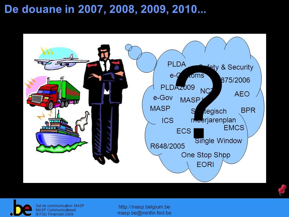 Set de communication MASP MASP Communicatieset © FOD Financiën 2009 http://masp.belgium.be masp.be@minfin.fed.be De douane in 2007, 2008, 2009, 2010..
