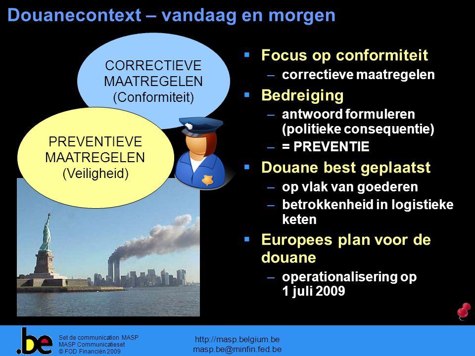 Set de communication MASP MASP Communicatieset © FOD Financiën 2009 http://masp.belgium.be masp.be@minfin.fed.be Douanecontext – vandaag en morgen COR