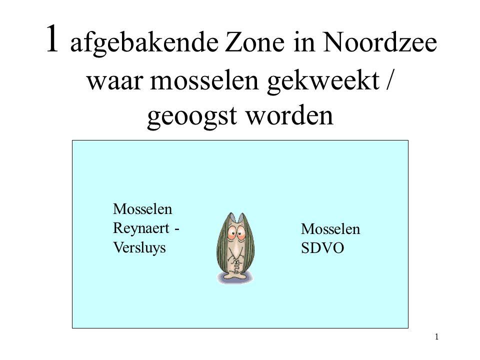 1 1 afgebakende Zone in Noordzee waar mosselen gekweekt / geoogst worden Mosselen Reynaert - Versluys Mosselen SDVO