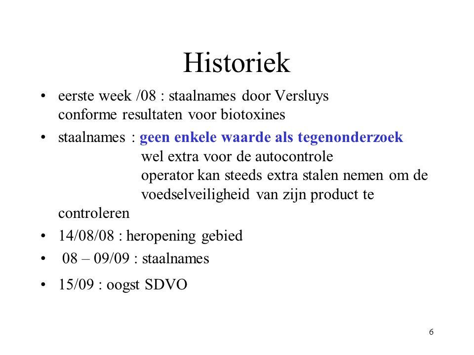 6 Historiek eerste week /08 : staalnames door Versluys conforme resultaten voor biotoxines staalnames : geen enkele waarde als tegenonderzoek wel extra voor de autocontrole operator kan steeds extra stalen nemen om de voedselveiligheid van zijn product te controleren 14/08/08 : heropening gebied 08 – 09/09 : staalnames 15/09 : oogst SDVO