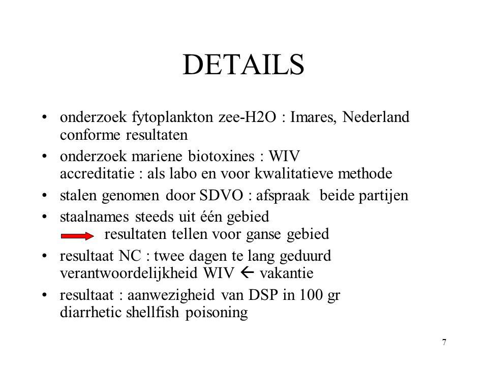 7 DETAILS onderzoek fytoplankton zee-H2O : Imares, Nederland conforme resultaten onderzoek mariene biotoxines : WIV accreditatie : als labo en voor kwalitatieve methode stalen genomen door SDVO : afspraak beide partijen staalnames steeds uit één gebied resultaten tellen voor ganse gebied resultaat NC : twee dagen te lang geduurd verantwoordelijkheid WIV  vakantie resultaat : aanwezigheid van DSP in 100 gr diarrhetic shellfish poisoning