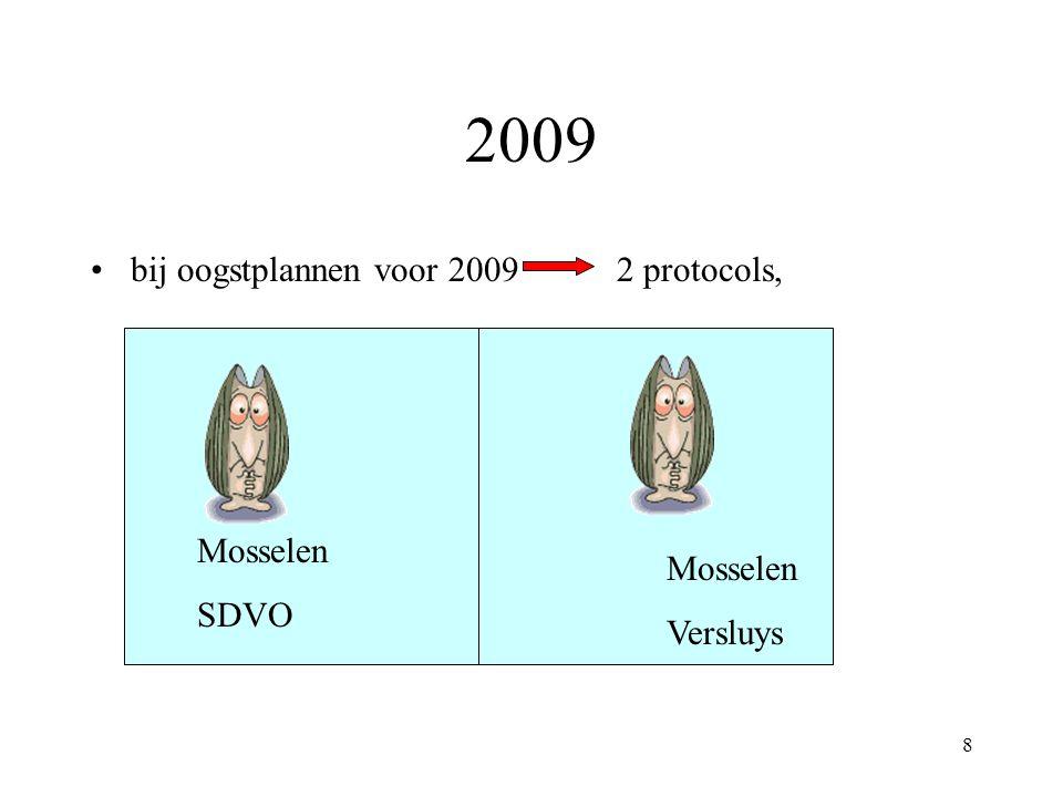 8 2009 bij oogstplannen voor 2009 2 protocols, Mosselen SDVO Mosselen Versluys