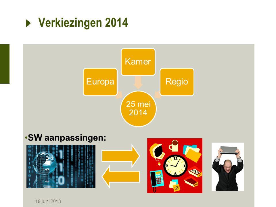 Verkiezingen 2014 19 juni 2013 25 mei 2014 EuropaKamerRegio SW aanpassingen: