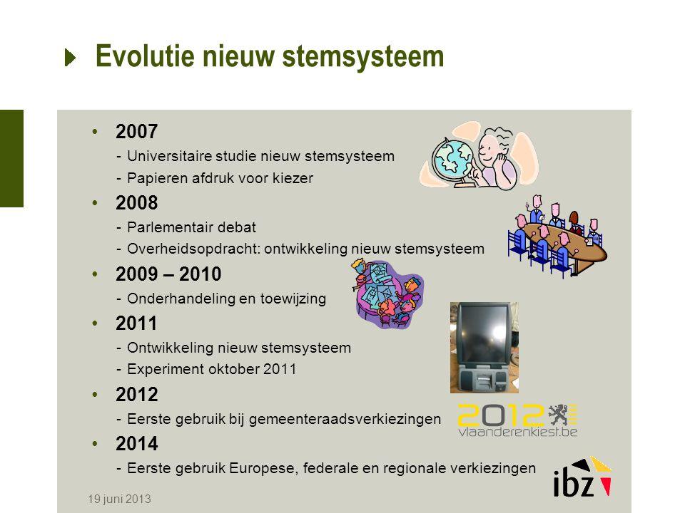 19 juni 2013 Evolutie nieuw stemsysteem 2007 -Universitaire studie nieuw stemsysteem -Papieren afdruk voor kiezer 2008 -Parlementair debat -Overheidso