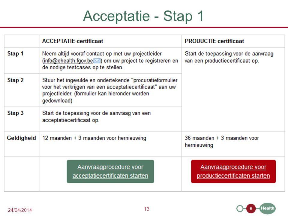 13 24/04/2014 Acceptatie - Stap 1