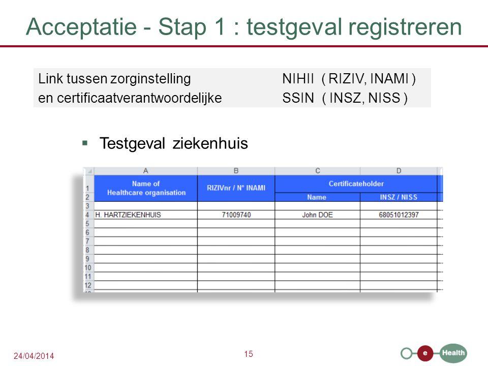 15 24/04/2014 Acceptatie - Stap 1 : testgeval registreren  Testgeval ziekenhuis Link tussen zorginstelling NIHII ( RIZIV, INAMI ) en certificaatverantwoordelijkeSSIN ( INSZ, NISS )