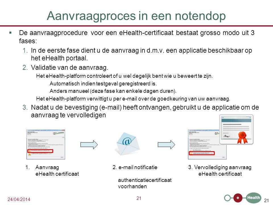 21 24/04/2014 Aanvraagproces in een notendop  De aanvraagprocedure voor een eHealth-certificaat bestaat grosso modo uit 3 fases: 1.In de eerste fase dient u de aanvraag in d.m.v.