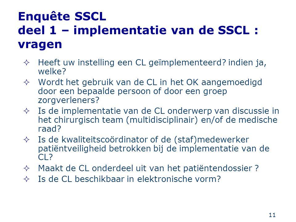 11 Enquête SSCL deel 1 – implementatie van de SSCL : vragen  Heeft uw instelling een CL geïmplementeerd? indien ja, welke?  Wordt het gebruik van de