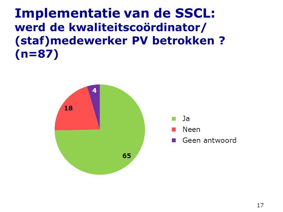 17 Implementatie van de SSCL: werd de kwaliteitscoördinator/ (staf)medewerker PV betrokken ? (n=87)
