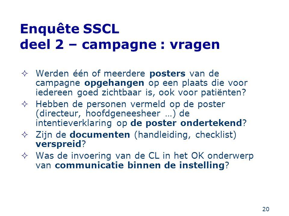 20 Enquête SSCL deel 2 – campagne : vragen  Werden één of meerdere posters van de campagne opgehangen op een plaats die voor iedereen goed zichtbaar
