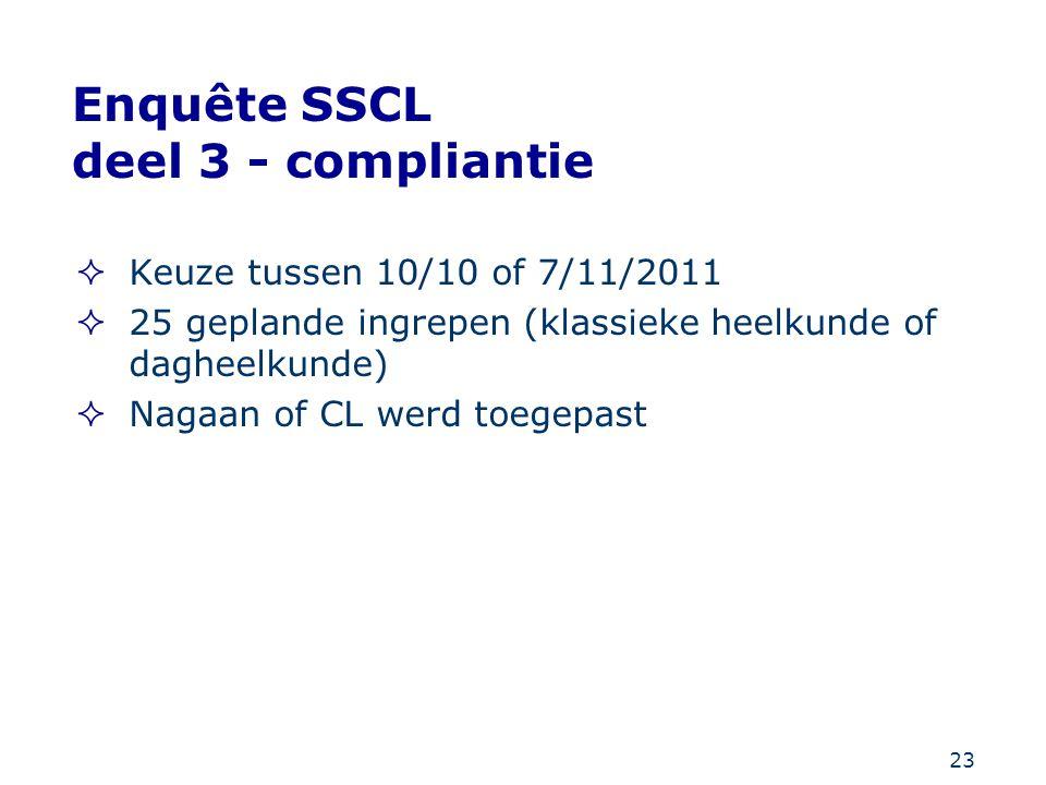 23 Enquête SSCL deel 3 - compliantie  Keuze tussen 10/10 of 7/11/2011  25 geplande ingrepen (klassieke heelkunde of dagheelkunde)  Nagaan of CL wer