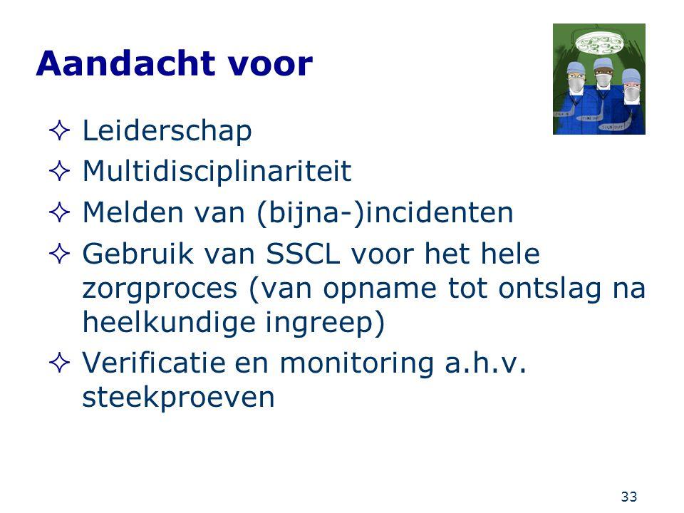 33 Aandacht voor  Leiderschap  Multidisciplinariteit  Melden van (bijna-)incidenten  Gebruik van SSCL voor het hele zorgproces (van opname tot ont
