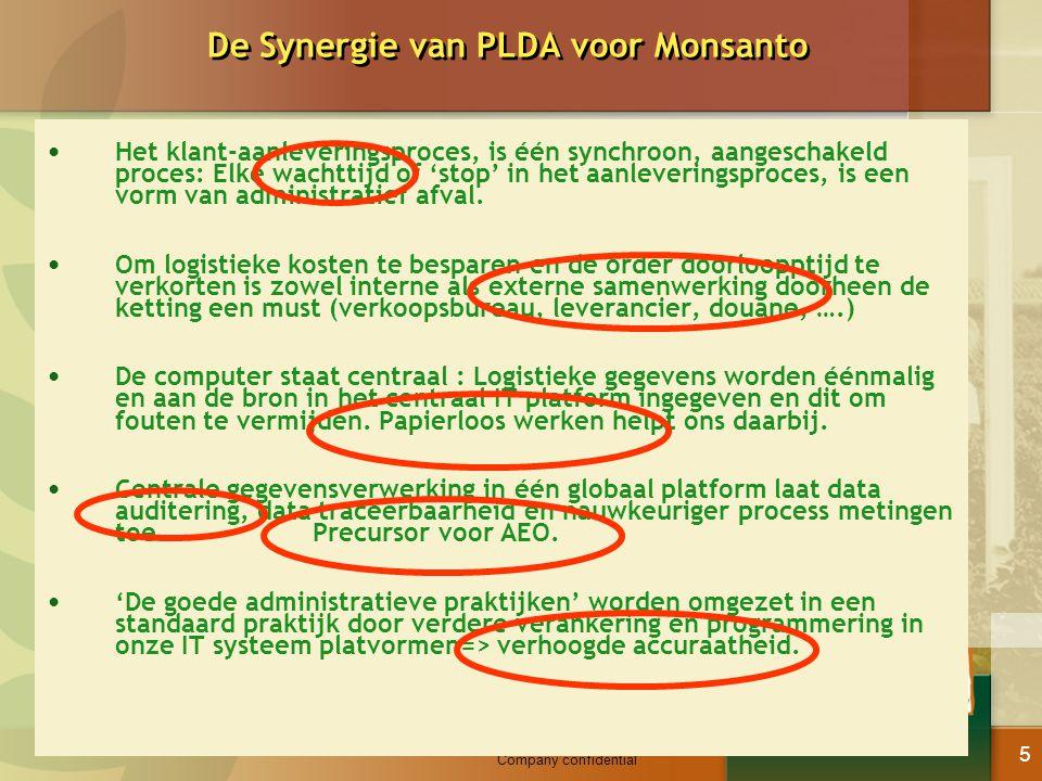 Company confidential 5 De Synergie van PLDA voor Monsanto Het klant-aanleveringsproces, is één synchroon, aangeschakeld proces: Elke wachttijd of 'sto