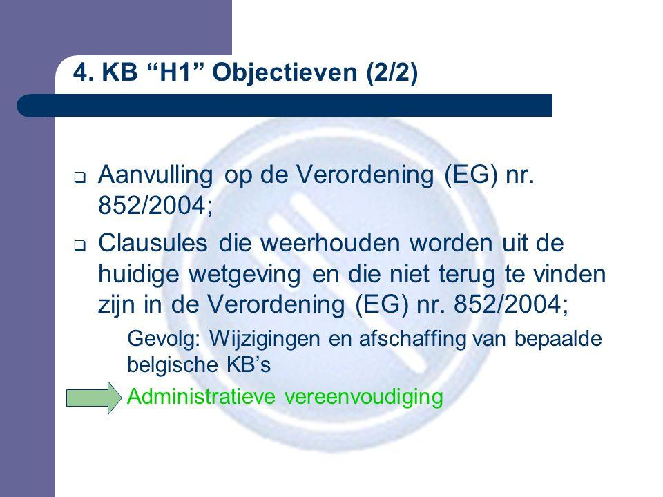 4.KB H1 Objectieven (2/2)  Aanvulling op de Verordening (EG) nr.