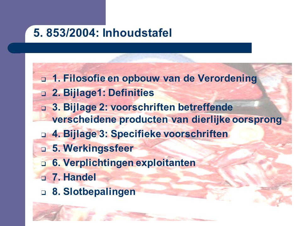 5. 853/2004: Inhoudstafel  1. Filosofie en opbouw van de Verordening  2.