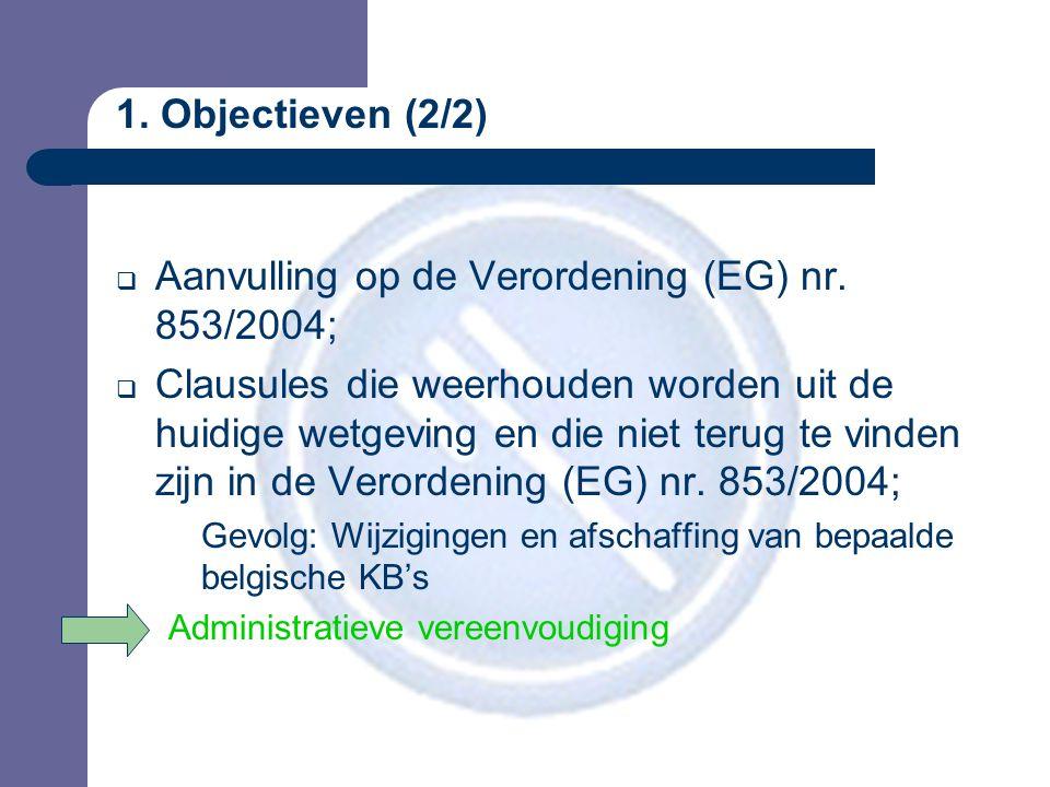 1. Objectieven (2/2)  Aanvulling op de Verordening (EG) nr.