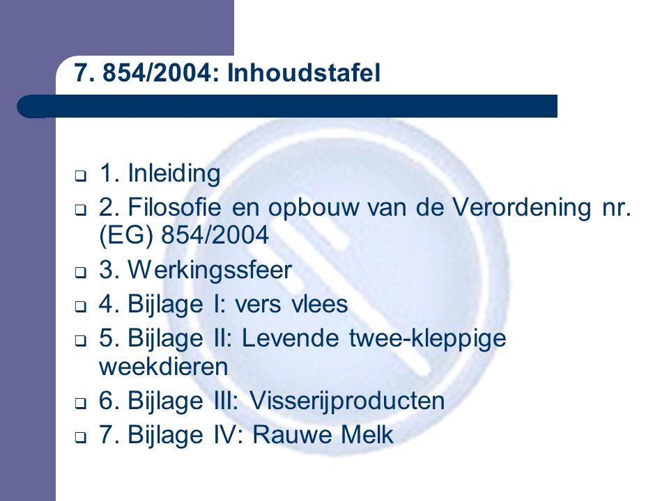 7. 854/2004: Inhoudstafel  1. Inleiding  2. Filosofie en opbouw van de Verordening nr.