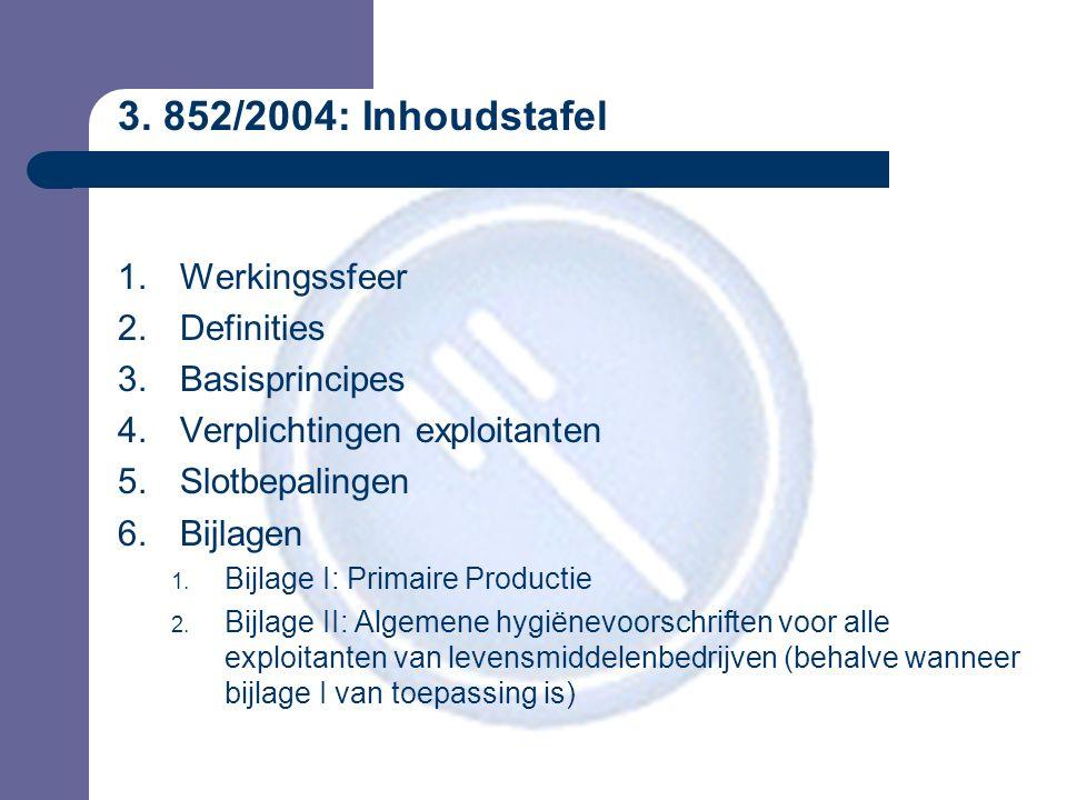 3. 852/2004: Inhoudstafel 1.