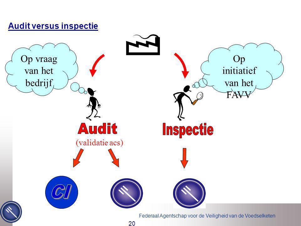 Federaal Agentschap voor de Veiligheid van de Voedselketen 20 Audit versus inspectie (validatie acs) Op vraag van het bedrijf Op initiatief van het FA
