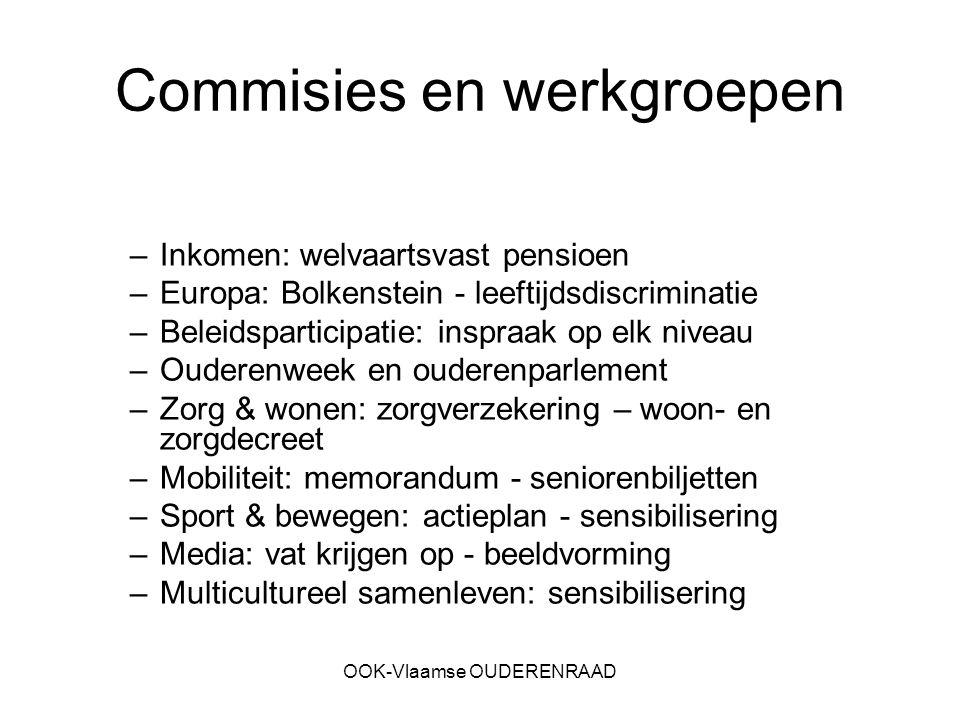 OOK-Vlaamse OUDERENRAAD Commisies en werkgroepen –Inkomen: welvaartsvast pensioen –Europa: Bolkenstein - leeftijdsdiscriminatie –Beleidsparticipatie: