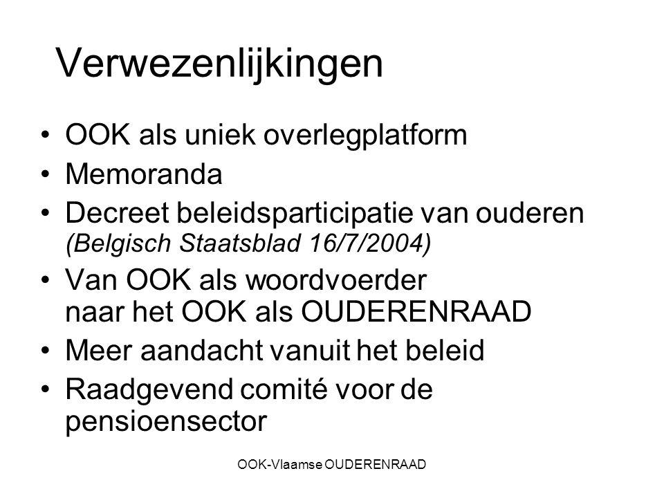 OOK-Vlaamse OUDERENRAAD Verwezenlijkingen OOK als uniek overlegplatform Memoranda Decreet beleidsparticipatie van ouderen (Belgisch Staatsblad 16/7/20