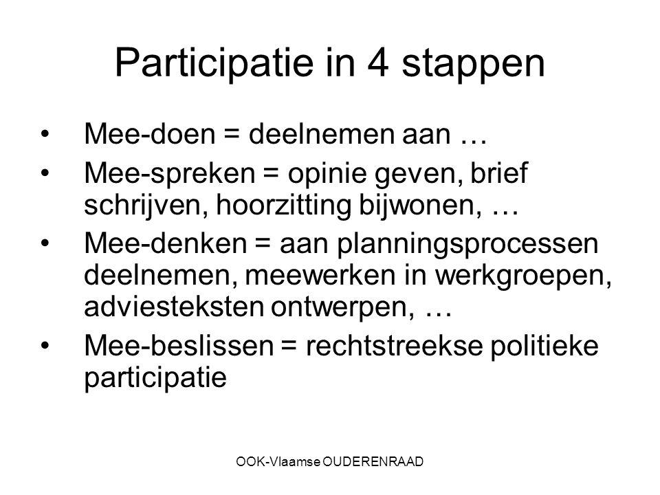 OOK-Vlaamse OUDERENRAAD Participatie in 4 stappen Mee-doen = deelnemen aan … Mee-spreken = opinie geven, brief schrijven, hoorzitting bijwonen, … Mee-denken = aan planningsprocessen deelnemen, meewerken in werkgroepen, adviesteksten ontwerpen, … Mee-beslissen = rechtstreekse politieke participatie