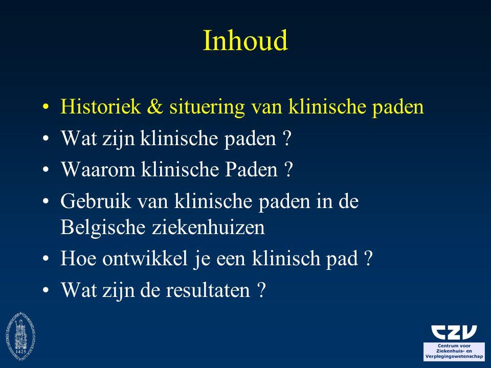 Historiek klinische paden 1950-60: Industrie (critical path, PERT) 1985: USA, Boston 1991: UK, London 1996-97: België, Leuven 2000: Start Netwerk Klinische Paden (NKP) 2002: uitbreiding NKP naar Nederland (CBO) 2003-2005: Beleidsondersteunend Project (BOS) Klinische paden (FOD Volsgezondheid) 2004: uitbreiding NKP-RIC naar Franstalig België (met UCL, Solimut) 2004: Oprichting European Pathway Association (EPA)