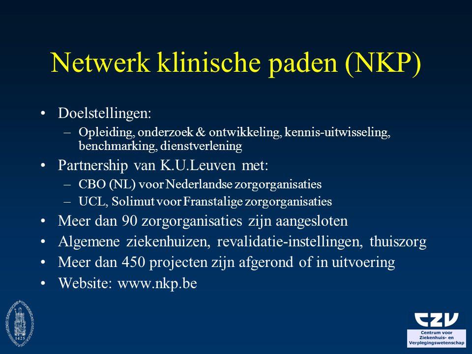 Top 10 klinische paden Belgische acute ziekenhuizen Klinisch pad% van ziekenhuizen Normale Bevalling40% (n=19) CVA40% (n=19) Totale Heupprothese33% (n=16) Totale Knieprothese33% (n=16) Borstcarcinoom21% (n=10) Keizersnede19% (n=9) Prostatectomie19% (n=9) Diabetes17% (n=8) Discus Hernia17% (n=8) Liesbreuk15% (n=7) (totaal aantal klinische paden in 48 acute ziekenhuizen: n=310)