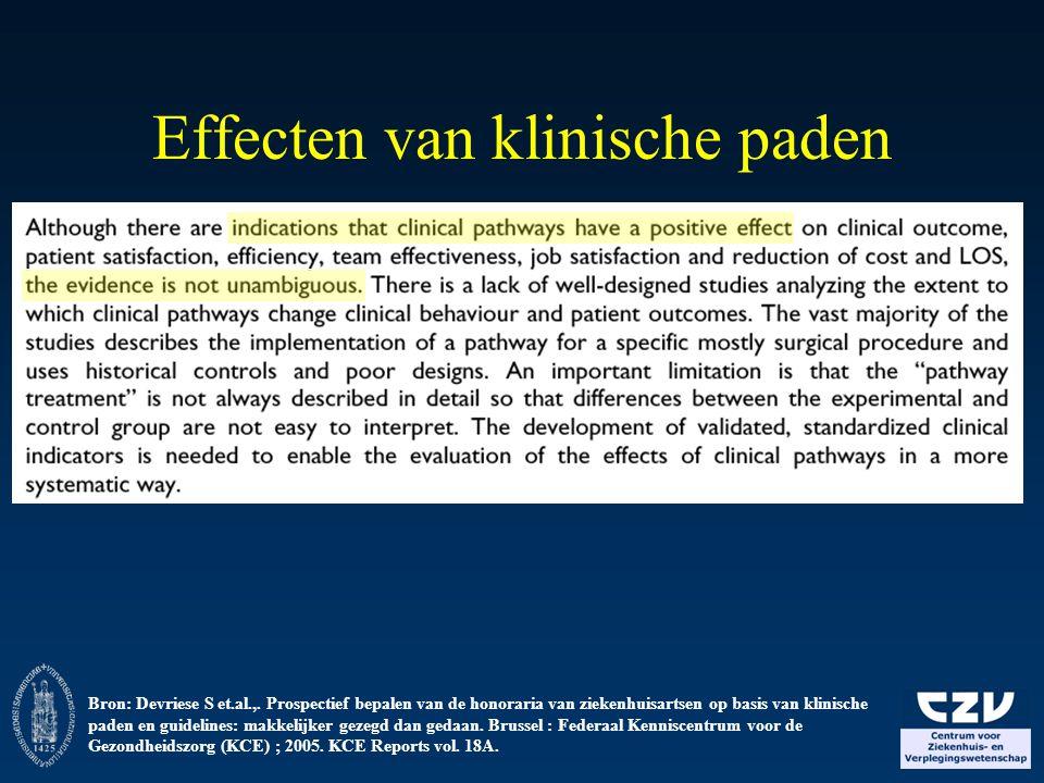 Effecten van klinische paden Bron: Devriese S et.al.,. Prospectief bepalen van de honoraria van ziekenhuisartsen op basis van klinische paden en guide