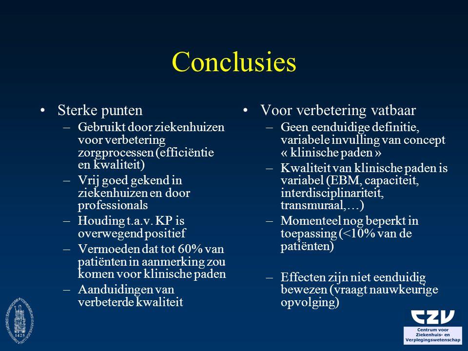 Conclusies Sterke punten –Gebruikt door ziekenhuizen voor verbetering zorgprocessen (efficiëntie en kwaliteit) –Vrij goed gekend in ziekenhuizen en do