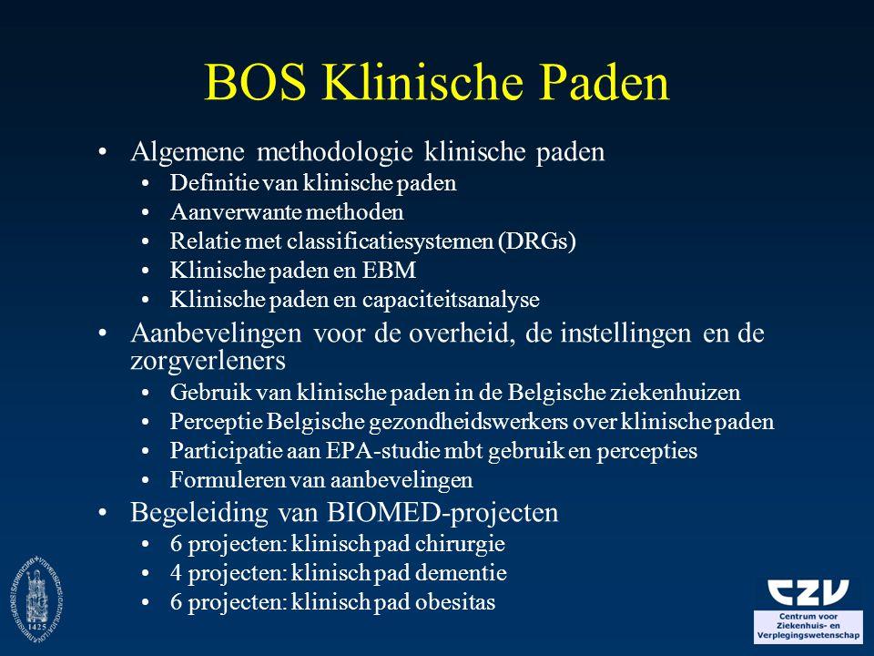 BOS Klinische Paden Algemene methodologie klinische paden Definitie van klinische paden Aanverwante methoden Relatie met classificatiesystemen (DRGs)