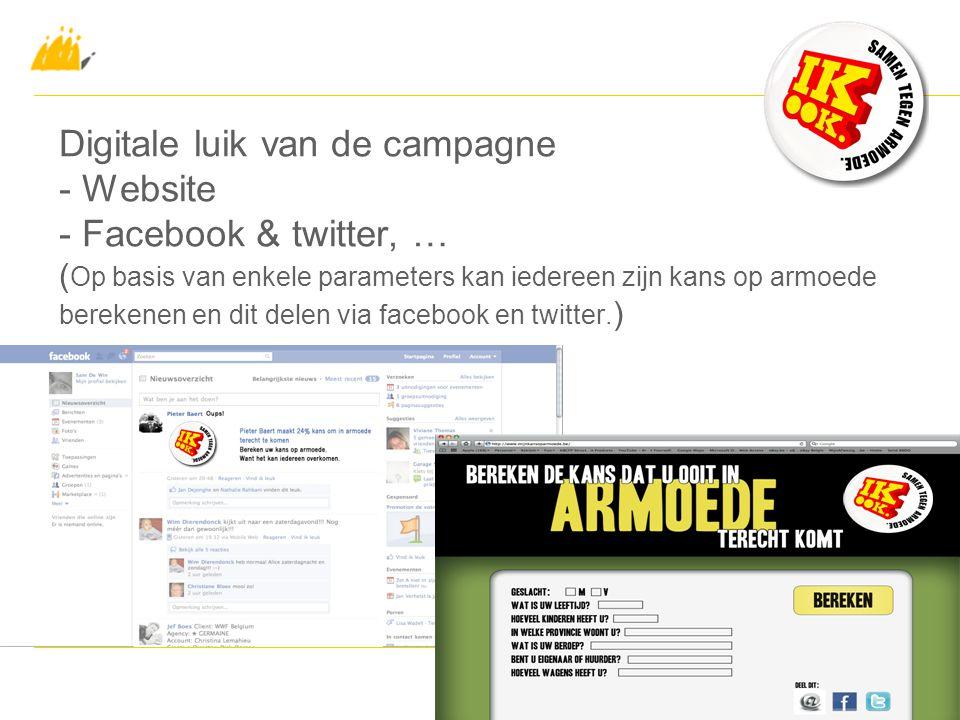 Digitale luik van de campagne - Website - Facebook & twitter, … ( Op basis van enkele parameters kan iedereen zijn kans op armoede berekenen en dit delen via facebook en twitter.